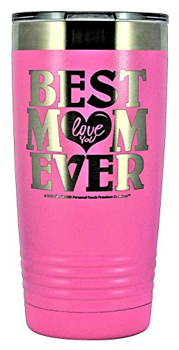 """GIFT FOR MOM - """"BEST MOM EVER ~ LOVE YOU"""" GK Grand Engraved Stainless Steel Vacuum Insulated Tumbler 20 oz Large Travel Coffee Mug Hot & Cold Drink Christmas Birthday Mothers Day (PASTEL-PINK)"""