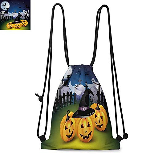 Halloween Easy to carry drawstring backpac Funny Cartoon Design with Pumpkins Witches Hat Ghosts Graveyard Full Moon Cat Durable Drawstring Backpack W13.4 x L8.3 Inch Multicolor]()