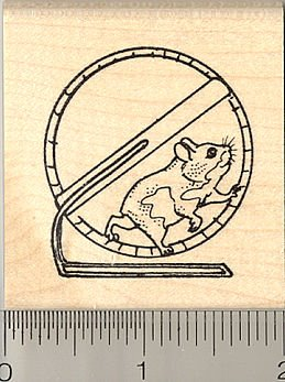 Hamster Wheel Rubber Stamp - Wood Mounted