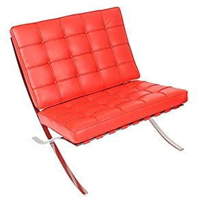Ordinaire MLF Knoll Barcelona Chair, Premium Aniline Leather, High Density Foam  Cushions And Seamless Visible Corners, Polished Stainless Steel Frame