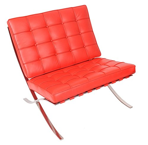MLF Pavilion Chair (5 Colors). Premium Aniline Leather, High Density Foam Cushions & Seamless Visible Corners. Polished Stainless Steel Frame Riveted with Cowhide Saddle Straps.(Red) (Fbm Saddle)