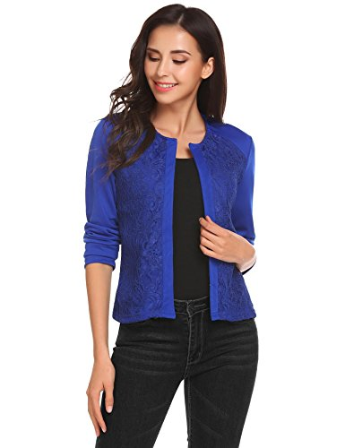 Zeagoo Women's Casual Lightweight Long Sleeve Fitted Open Blazer Lace Patchwork Jacket (Royal Blue XXL) (Light Jacket Lace Blue)