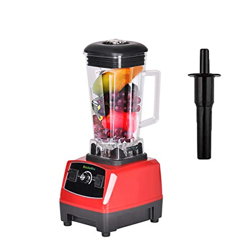 Heavy Duty Commercial Blender 2200W Professional Kitchen Electric High-Speed Mixer Stainless Steel 6-Blade Smoothie Bar Fruit Drink Countertop Blender,Red,220Vukplug
