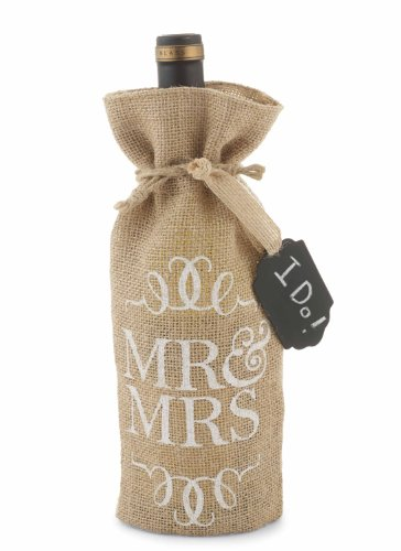 Mud Pie Mr. and Mrs. Burlap Wine Bag