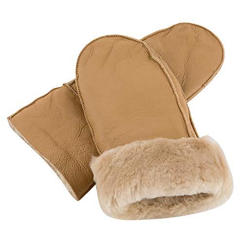 Masubo Women Sheepskin Leather Mittens Girls' Warm Fleece Gloves Ladies Outdoor - Leather Mitten Womens