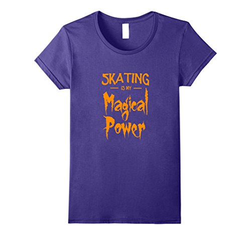 Womens Skating Is My Magical Power T-Shirt Funny Halloween Gift Large Purple