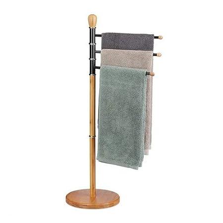 Soporte toallas bambú y acero Toallero de pie 2 baldas Toallero baño moderno