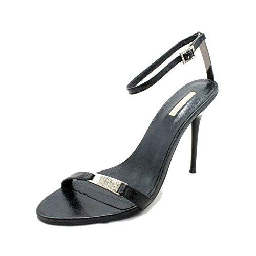 Señoras sandalias de tacón de aguja / zapatos de noche minimalistas con correa de tobillo Black
