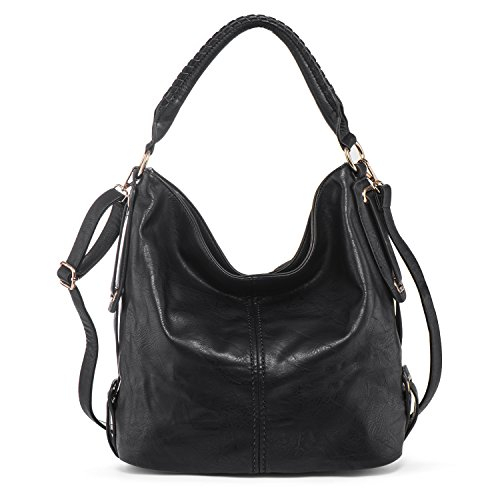 PU Leather Shoulder Bag for Women Hobo Handbag Large Capacity Crossbody Bags Top Handle Tote Purse Black + Katloo Nail (Natural Fabric Handbags)