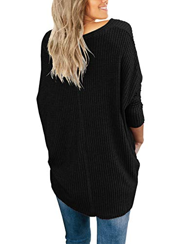 3c2957ee2871b IWOLLENCE Womens Loose Henley Blouse Bat Wing Long Sleeve Button Down T Shirts  Tie Front Knot