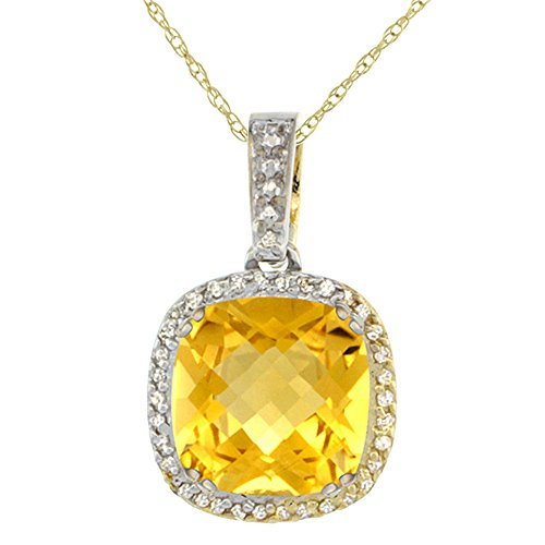 Citrine Cushion Necklace - 10k Yellow Gold Diamond Halo Natural Citrine Necklace Cushion Shaped 10x10mm, 18 inch long