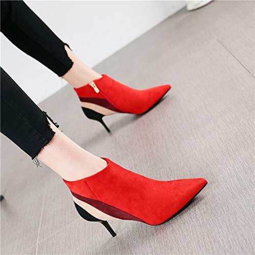 HRCxue Pumps Mode zeigte sexy farblich passenden Stiletto Heels seitlichen Reißverschluss Wildleder Stiefel nackte Stiefel