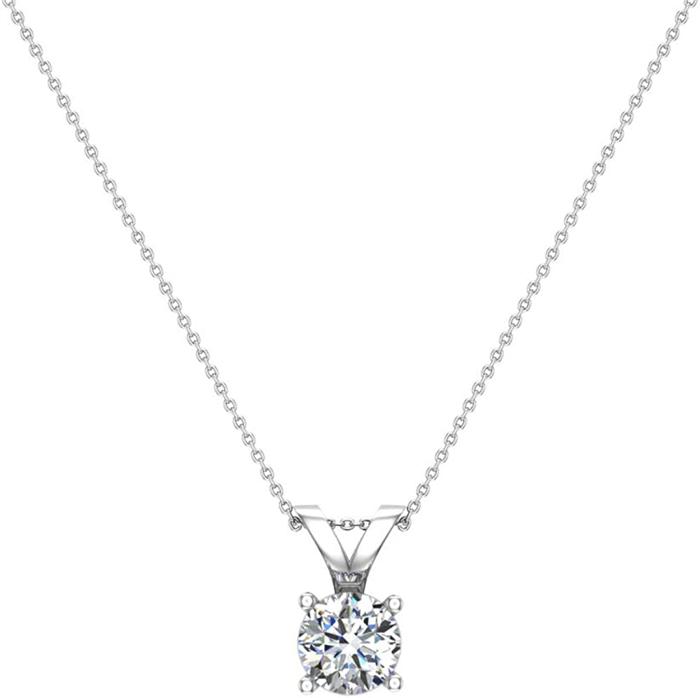 14K Gold Necklace Round Brilliant Solitaire Diamond Pendant (G,I1) Premium Quality