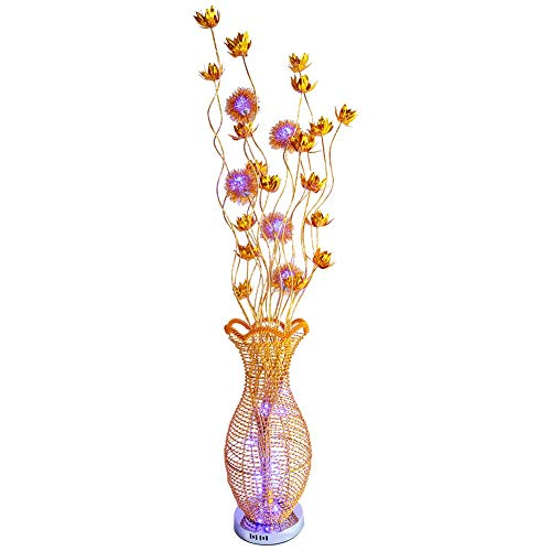 (Belief Rebirth Flower Vase Standing Lamp LED Floor Lamp - Modern Elegant Gold and Polished Chrome Metal Base and Aluminium Petal Flowers Light 0.5W Led Beads)