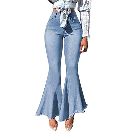 WDSTA Flare Wide Leg Pants for Womens Splice Button Zipper Pocket Jeans Casual Denim Pants (Light Blue,L)