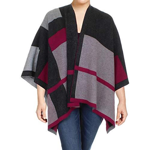 Lauren Ralph Lauren Womens Jacquard Printed Poncho Sweater Gray (Ralph Lauren Poncho)
