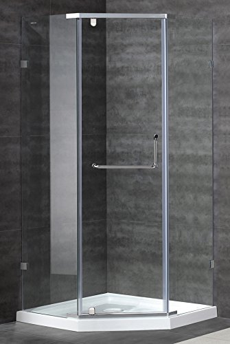 Aston Contemporary/Modern 36 in. x 36 in. Neo-Angle Semi-Frameless Shower Enclosure, Stainless Steel Finish with Shower Base, ,