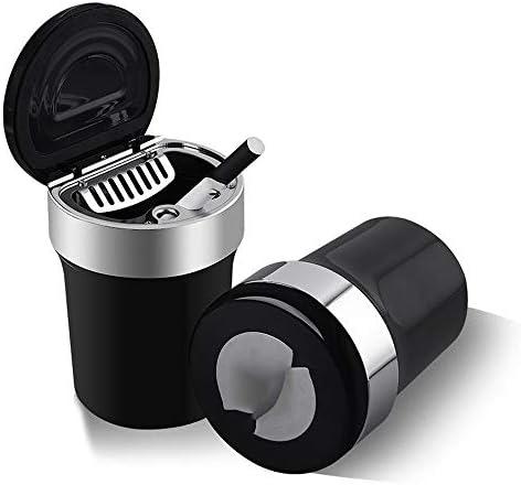 EUEMCH ふたが付いている車の灰皿LEDランプの普遍的な灰皿車の付属品実用的な車の出口の灰皿ステンレス鋼はさみ金の高い難燃剤