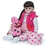 Reborn Toddler Doll Girl 24 Inch Soft Silicone Vinyl Realistic Reborn Dolls Newborn Baby Toddler Weighted Black Ponytail with Stuffed Deer