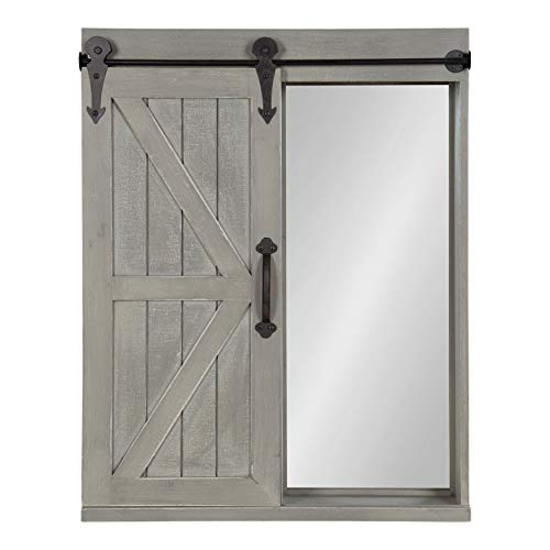 (Kate and Laurel Cates Wood Wall Storage Cabinet with Vanity Mirror and Sliding Barn Door, Rustic Gray)