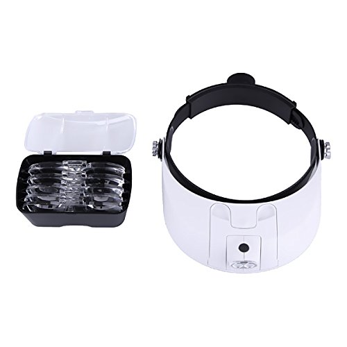 2 Led Headband Illuminating Magnifer 1.0x 1.5x 2.0x 2.5x 3.5x