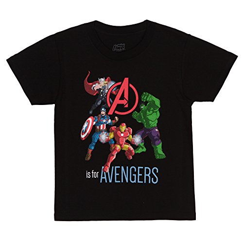 Marvel A is for Avengers Toddler/Juvy T-Shirt - Black (4T)