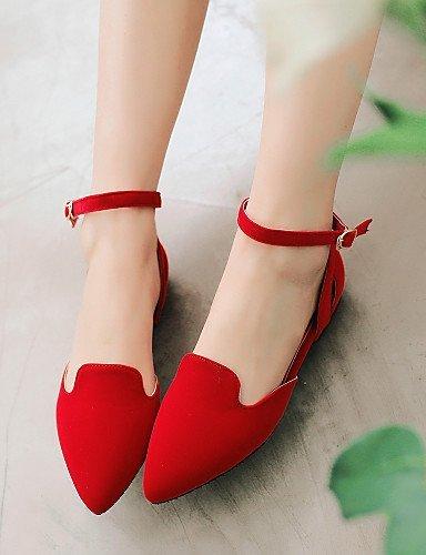 Tempo Casual Red e pelle Ufficio A Scarpe punta Ballerine Nero libero Piatto Blu Donna Rosso ShangYi Finta lavoro qt8TBw
