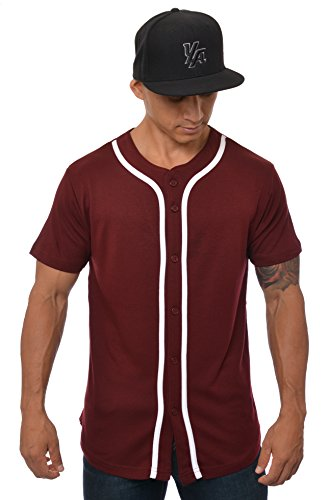 YoungLA Baseball Jersey Plain Shirts for Men Button Down Sports Tee Made w/Soft Cotton Burgundy - Large