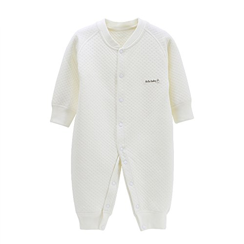 EsTong Newborn Infant Baby Boy Girl Cotton Pajamas Long Sleeve Romper Warm Soft Outfit White 3-6Months