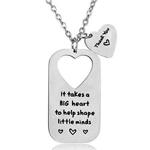 BESPMOSP Teacher Pendant Necklace, Teacher Keychain, Thank You Gift, Appreciation Jewelry, Gift for Teacher (Thank You Necklace)