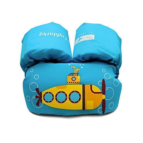 (Dark Lightning Children's Life Jacket, Kids/Toddler Swim Vests 30-50 lbs, Compatible Infant/Baby 20-30 Pounds (Sky Blue - Yellow)