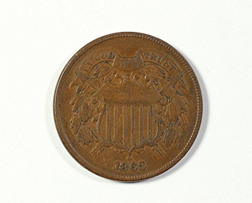 1865 No Mint Mark Circulated Two Cent Piece Civil War Era Two-Cent Seller Good