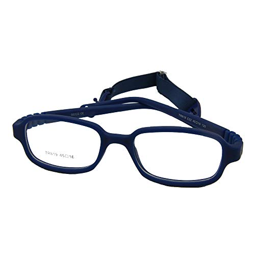 EnzoDate Boys Girls Optical Glasses Frame Size 45 with Strap, Flexible One-piece No Screw for Kids ()