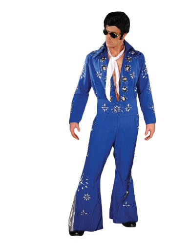 Men's Deluxe Elvis Jumpsuit Costume, Blue, ()