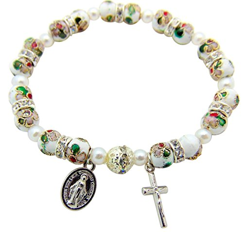 - LM Gifts Miraculous Mary Medal White Cloisonne Stretch Bracelet with Crucifix & Gift Bag