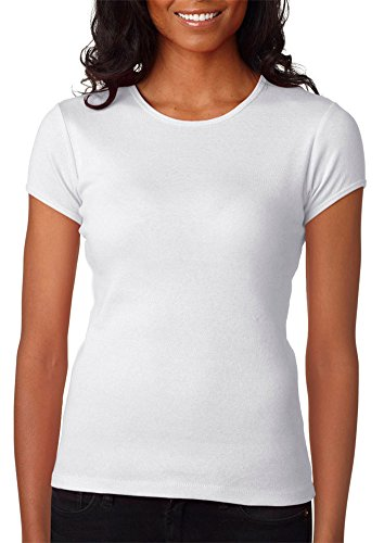 Bella+Canvas Women's Soft Baby RingSpun Crewneck T-Shirt, Wht, Medium ()