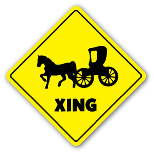 Horse And Carriage Crossing [3 Pack] of Vinyl Decal Stickers | 4