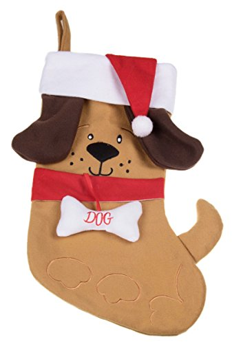 Red Bone Hound (Puppy Dog Soft Plush Cloth Hanging Christmas Stocking | For Kids, Teens, Adults | Tan and Brown Holiday Decor Theme | Perfect for Small Gifts, Stocking Stuffers, & Candy | Measures 17