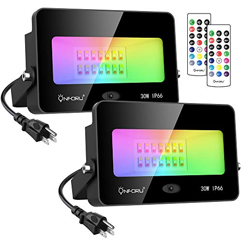Onforu 2 Pack 30W Color Changing Flood Light, RGB Flood Light with Remote Control, Indoor Outdoor IP66 Waterproof Dimmable Colored LED Floodlight, Wall Washer Light with Timer and Memory Function