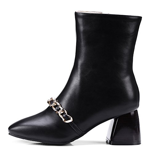 Zapatos botines parte por Null moda de raje Toe noche Black polipiel botas mujer invierno Botines otoño Square botas HSXZ Chunky de talón AdTz6aw4qq