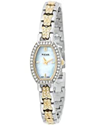 Pulsar Womens PEGC97 Crystal Accented Two-Tone Mother of Pearl Dial Watch
