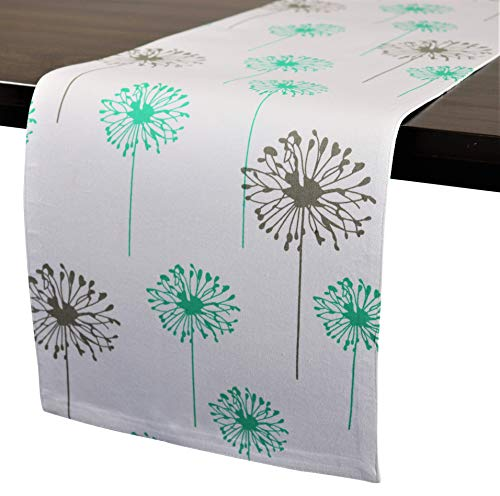 Crabtree Collection Deluxe Lined Table Runner from Thick Cotton Table Cover with Turquoise/Gray Dandelion Pattern, Bright Colors for Kitchens and Dining Rooms - Soft and Strong Cotton (12x72)