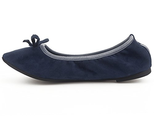 Flats Greatonu Shoes Ballerina Women Foldable Ballet Blue Comfort On Slip HZxvgwq8H