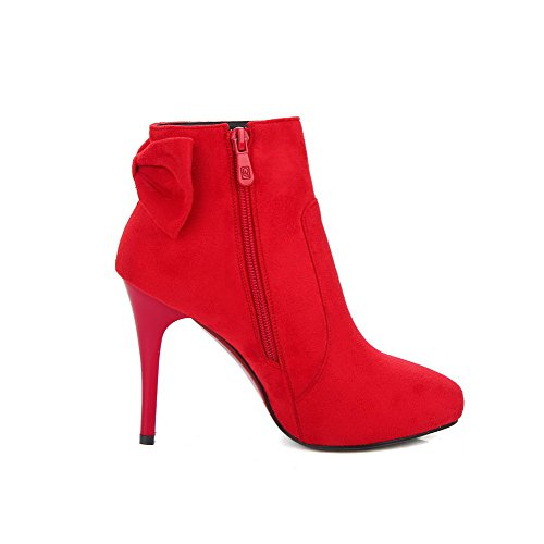AllhqFashion Damen Schleife Rein Stiletto Reißverschluss Spitz Zehe Stiefel, Rot, 35