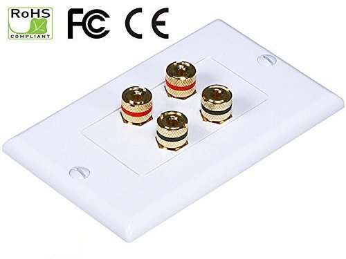 iMBAPrice Premium Banana Wall Plate - 4 Coupler Type Connectors Banana Plug Binding Post Wall Plate for 2 Speakers ()
