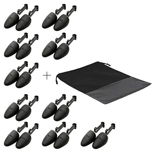 WAJJ 10 Pairs Practical Adjustable Length Men Shoe Tree Stretcher Holder Shaper Support(Black