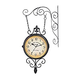 Fengfeng Double Sided Wall Clock, Bracket Clock, Clocks Outdoor Garden Outside Clock Vintage Two Sided Silent Clock Mute Clock for Use Indoors and Outdoors,a