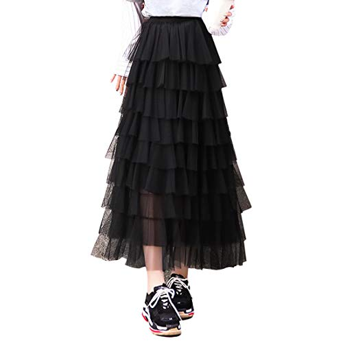 - Itemnew Women's Sweet Elastic Waist Tulle Layered Ruffles Mesh Long Tiered Skirt (One Size, Black)