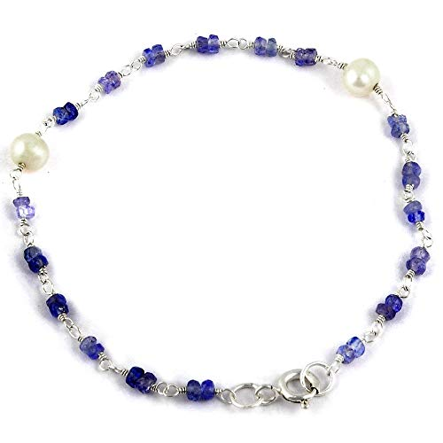 Orchid Jewelry 5.60 Ct Blue Beads Tanzanite and Pearl 925 Sterling Silver Bracelet for Women: Nickel Free Beautiful and Stylish Birthday Gift for Mother and Wife