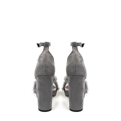 Diva Con Zapatos Grey Suedette Tacón Miss Mujer AxazCwAq